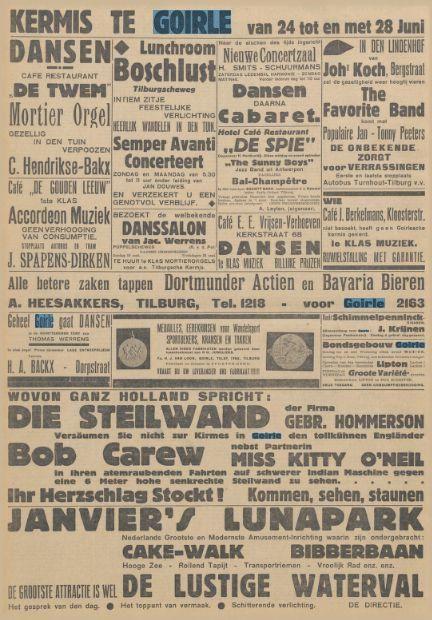 Kermis te Goirle met vele advertenties horeca Nieuwe Tilburgsche Courant Datum, editie:24-06-1933
