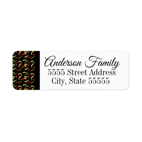 Cute Chili Peppers Return Address Labels Easy To Change The Sample