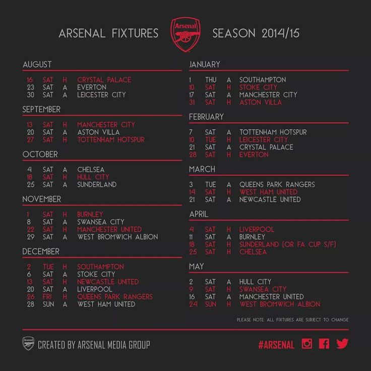 Arsenal FC Match Schedule 2014-2015