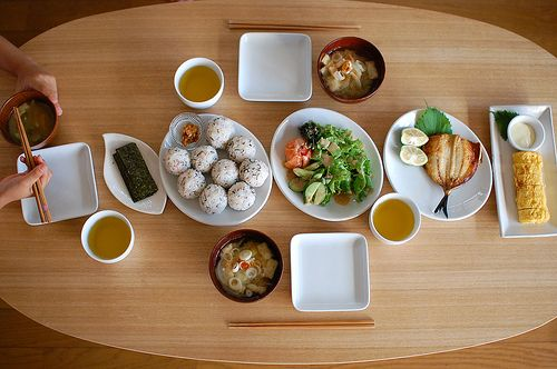 Food Presentation - 日本朝食 (A traditional Japanese breakfast). fish, rice, miso soup, rolled omlette, assorted vegetables, dried seaweed, and green tea.