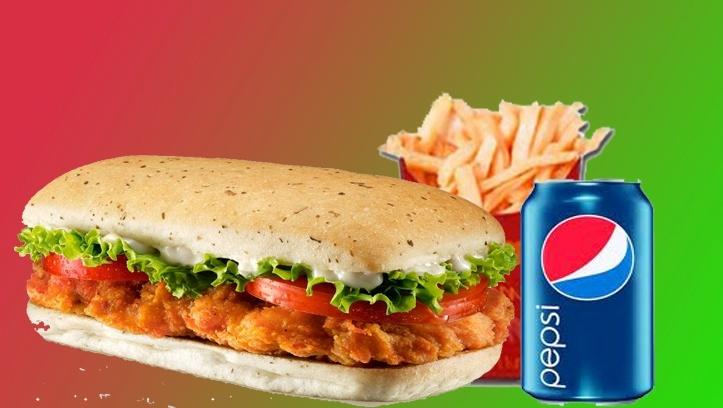 Menú 1CRISPY CHICKEN + 1 LATA DE REFRESCO + 1 CARTUCHO DE PATATAS. 4€