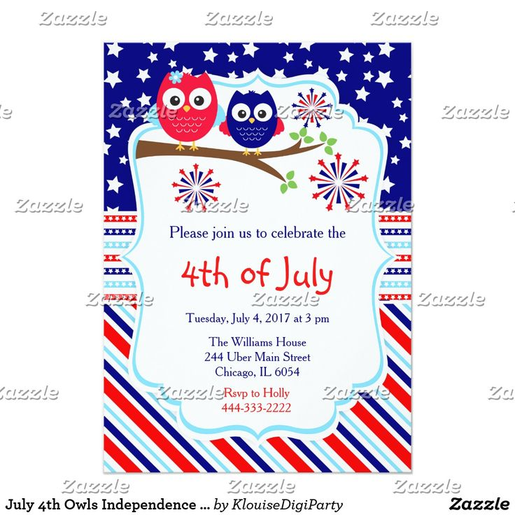 July 4th Owls Independence Day Party Card