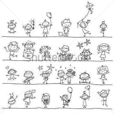 Enfants Heureux DE Dessin Cartoon Jouant DE LA Main image vectorielle - Clipart.me
