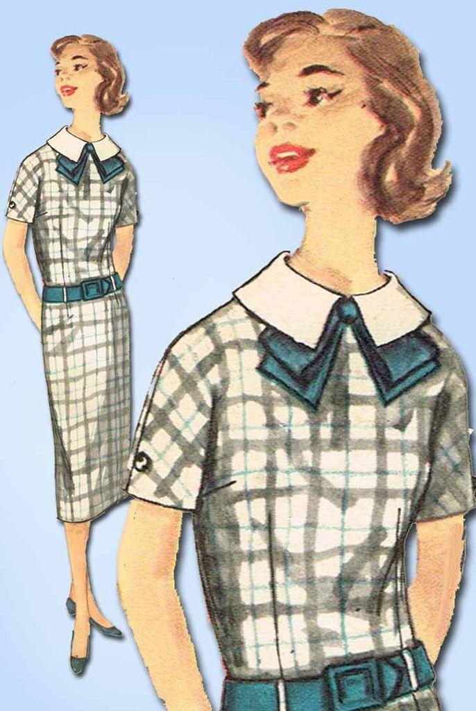 1950s Vintage Simplicity Sewing Pattern 2442 Simple Uncut Misses Dress Size 33 B