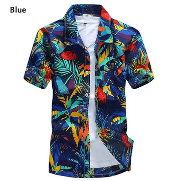Mens Polyester Quick-dry Summer Casual Plus Size Printing Turn-down Collar Short Sleeve Beach Shirt at Banggood