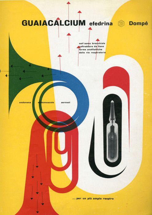 Franco Grignani Pagina Pubblicitaria - Guaiacalcium efedrina  Annuncio presente nella rivista Bellezza d'Italia,  rassegna d'arte e di vita moderna, n. 3 1953.
