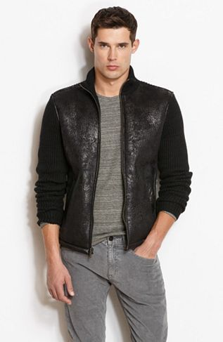 Faux Shearling Zip Front Sweater - Sweaters - Mens - Armani Exchange