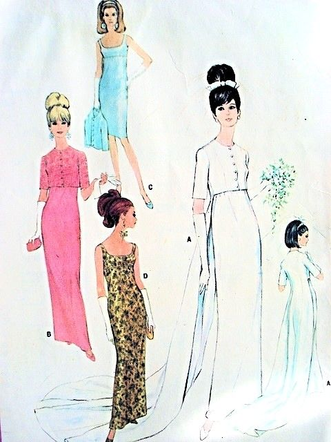 1960s Wedding Dress Bridal Gown Pattern McCalls 8527 Vintage Sewing Pattern Unique Empire Slim Dress Jacket With Long Flowing Train Very Striking Bridal Pattern UNCUT FACTORY FOLDED