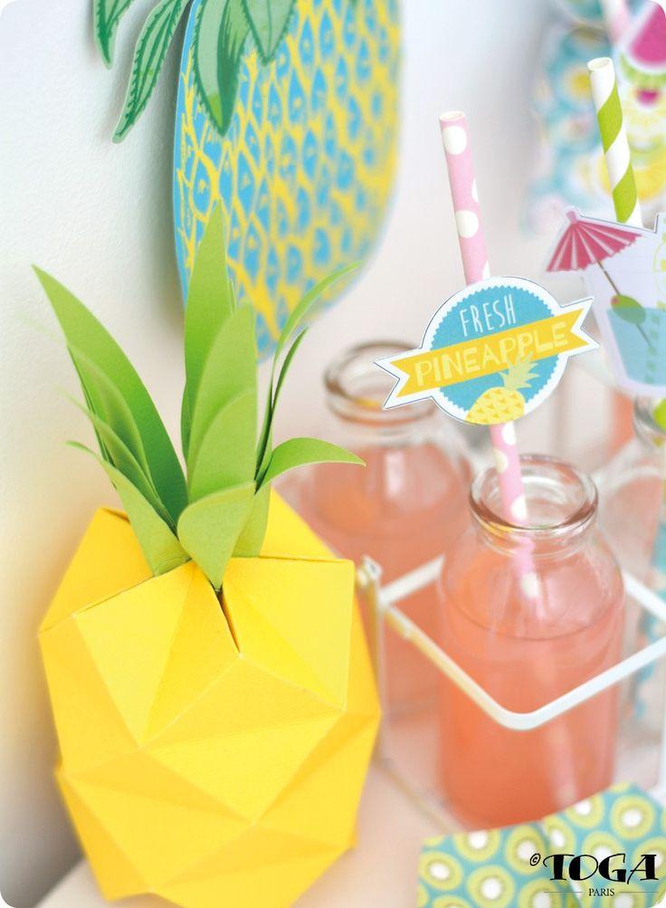 Summer Party: Mon Ananas 3D gabarit et tuto du pliage !
