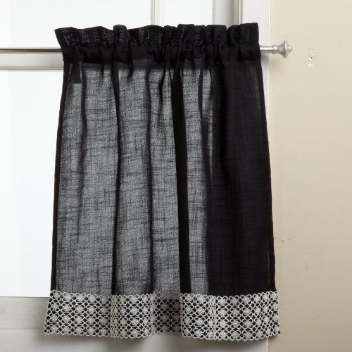 lorraine home fashions salem 60inch x 36inch tier curtain pair black - Tier Curtains
