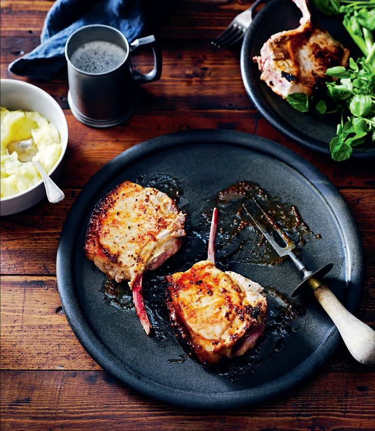 Maple and mustard-glazed pork cutlets with roasted apple sauce by Rachael Lane from Great Pub Food | Cooked