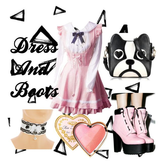 """""""Lolita Dress and Boots"""" by slashbat on Polyvore featuring Nika, Current Mood, Too Faced Cosmetics, cute, Pink, lolita, puppy and Loli"""