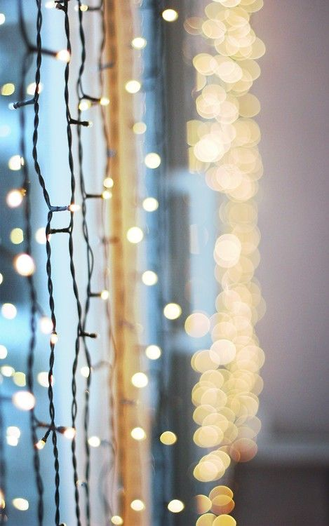 Hanging #string #fairylights for a gorgeous wall or window display Lights always on ...