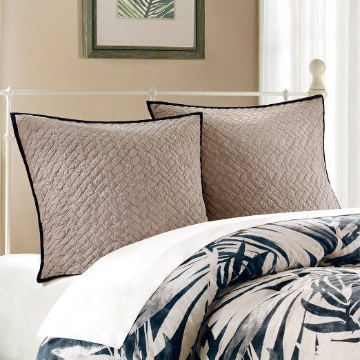 HARBOR HOUSE Areca Quilted European Pillow Sham Light Grey Black