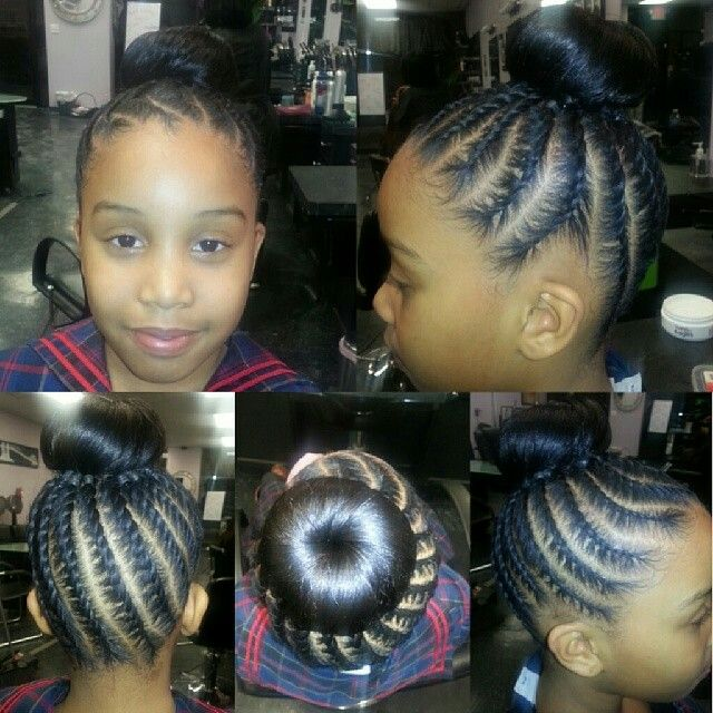 Cute Kids Cornrows Into A Bun