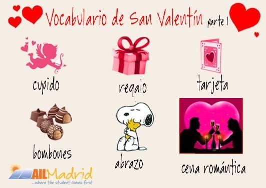 Queremos que paséis un #SanValentín muy romántico. Aquí tenéis un poco de #vocabularioespañol para ayudaros