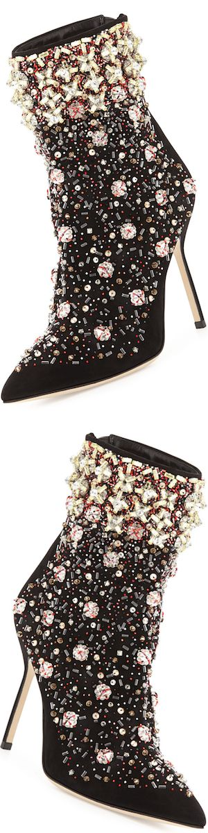 Manolo Blahnik Zarina Embroidered Suede Boot, Black