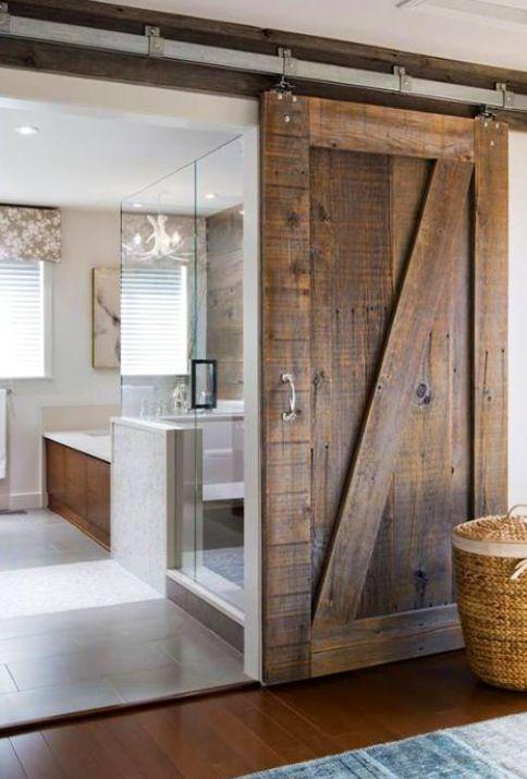 Barn door sliding bathroom door