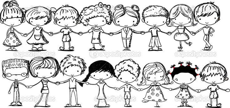 Χαριτωμένα παιδιά, κρατώντας τα χέρια, μαύρο και άσπρο καρτούν εικόνα — Αρχείο Εικονογράφησης #37446083