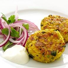 Chickpea, chilli and coriander cakes with marinated red onion salad. From deliaonline.com