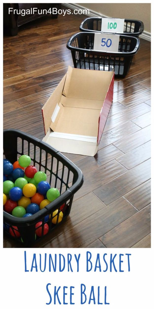 Laundry Basket Skee Ball a great activity for a rainy day for preschoolers and kindergartners!