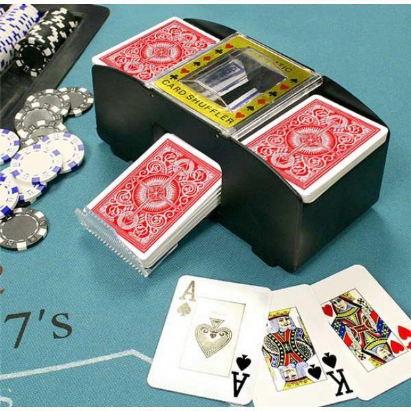 Le presentamos la máquina de barajar. Siempre repartirá con justicia y sin favoritismos... entre 1 y 2 barajas en simultáneo, para que el juego acontezca de forma natural. El simple acto de barajar manualmente es un proceso que, repetidamente realizado, contribuye a envejecer tus juegos de cartas. Ahora, usando un Barajador Automático tus barajas de cartas permanecerán nuevas por más tiempoCaracterísticas:Equipo de barajar prácticoFunciona con 4 Pilas AA (no incluidas)Dimensiones: 21 x 11,5…