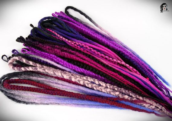 Big Purple Mix Set Dreadlocks 52 SE and DE SALE !  Set contains: 35 fluffy synthetic braids Single Ended 10 wool dreadlocks Double Ended 5 synthetic crochet dreadlocks Double Ended 2 wool braids Double Ended  Lenght: 25-40 inch (70-100cm) Thickness: 0.39-1.18 inch (1-3cm) Color: purple and pink shades, black     Quantity: If you have a mohawk - 30 pieces will be enough If you have a thin hair - 40 pieces will be enough If you have a tchick hair - you need 50-60 pieces    Remember…