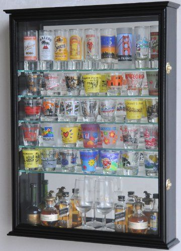 Large Mirror Backed and 7 Glass Shelves Shot Glasses Display Case Holder Cabinet , Black