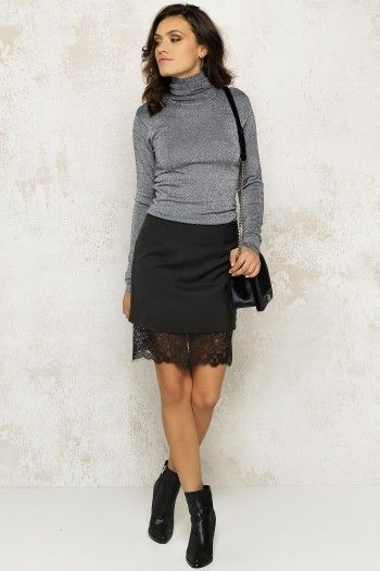 Black skirt with lace bottum by LOAVIES