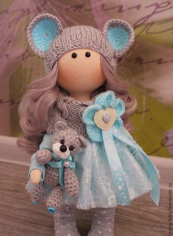 Купить Текстильная куколка-малышка Мышка - голубой, кукла ручной работы, кукла текстильная