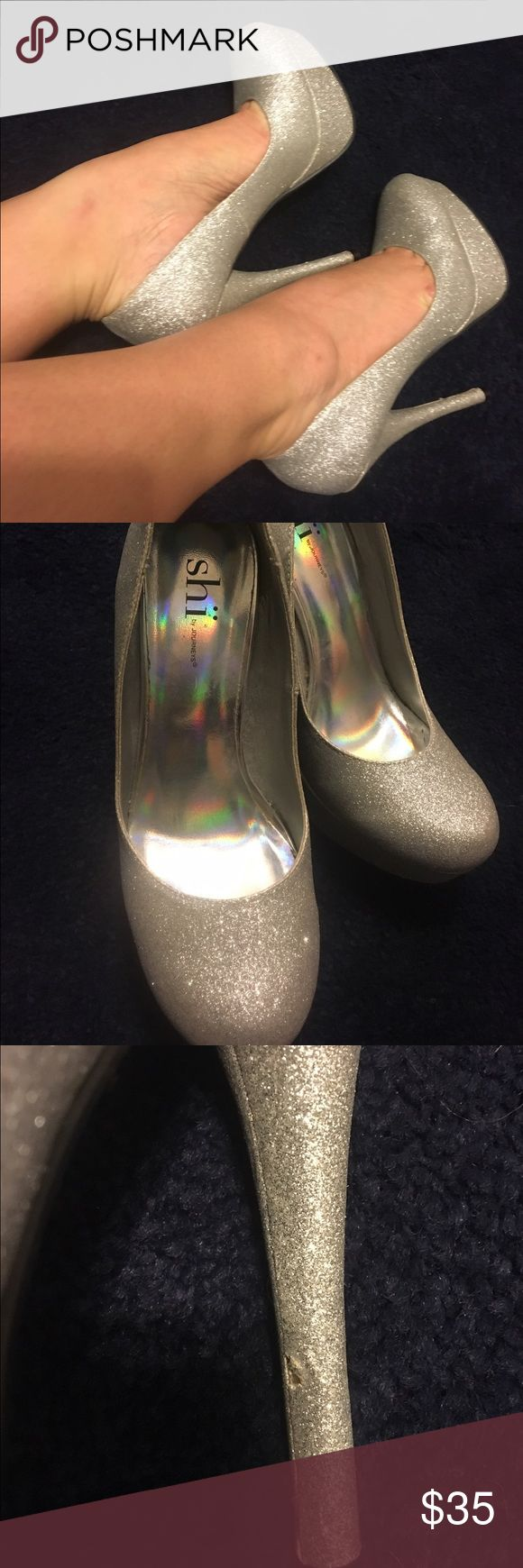 Sparkle Heels Beautiful sparkly silver heels! Worn once and they have a little defect on one heel but you can notice it! (Pictured above) Great for New Years! 🎉 Shoes Heels