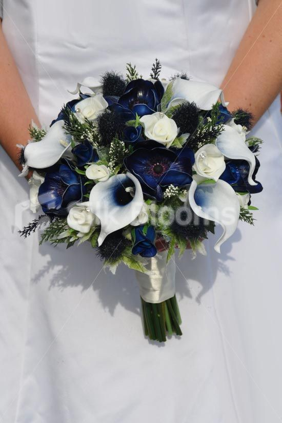 Fresh Touch Dark Blue Anemone Bridal Bouquet w/ Roses, Thistles, Heather and Vermeer Lilies