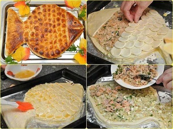 """Фото: ПИРОГ """"ЗОЛОТАЯ РЫБКА""""  Aроматный горячий рыбный пирог, приготовленный своими руками, ваши домашние оценят на ура. Потому что это очень вкусно. Приятного аппетита! Ингредиенты:  ● 2 банки рыбных консервов (у нас форель), ● 0,5 стакана риса, ● 2 сваренных вкрутую яйца, ● 1 луковица, ● 2 пачки (1000 г) готового слоеного бездрожжевого теста, ● 50 г сливочного масла, ● соль, перец, ● яйцо для смазывания.  Приготовление:  Рис отварить почти до готовности, лучше немного не доварить. Промыть…"""