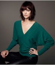 """BATWING SWEATER $155  The Batwing Sleeves, which taper down to the cuff, make this a very elegant and flattering piece. Perfect for evening with a bra and trousers, or for day wear with a tapered skirt and boots.    The sleeves fall off the shoulders and don't """"cling"""" to your skin, which feels very comfortable, airy and light when you wear it.    The deep V is sexy worn with just a bra and is equally nice with a contrasting cami underneath."""