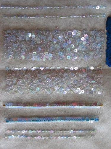 Pose de paillettes au crochet de Lunéville Meandering chain with sequins ...