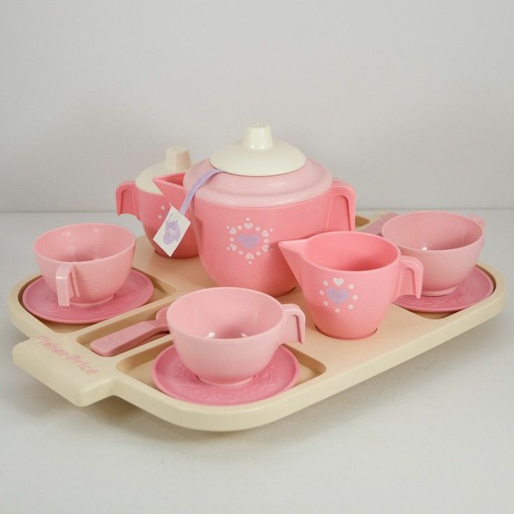 Vtg 1980s Fisher Price Pink and White Tea Set Complete w/ Cups ...