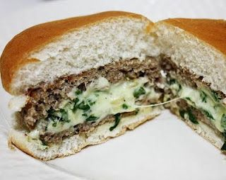 Spinach  cheese-stuffed turkey burgers. Made these last night. Definitely a great concept -- you could stuff them with anything. Use less salt.  My 17 year old son says I could open a restaurant and serve only this burger - it's that good!