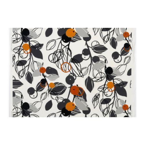 Curtains - IKEA Fabric - Majken White & Light Grey, Orange - Pencil Pleat