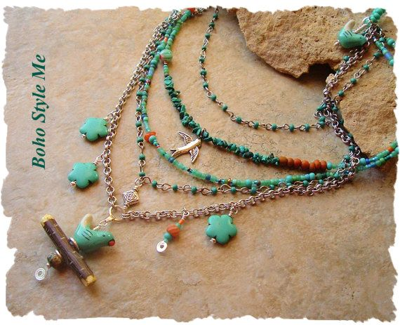 Bohemian+Necklace+Bird+Lover+Genuine+Turquoise+by+BohoStyleMe