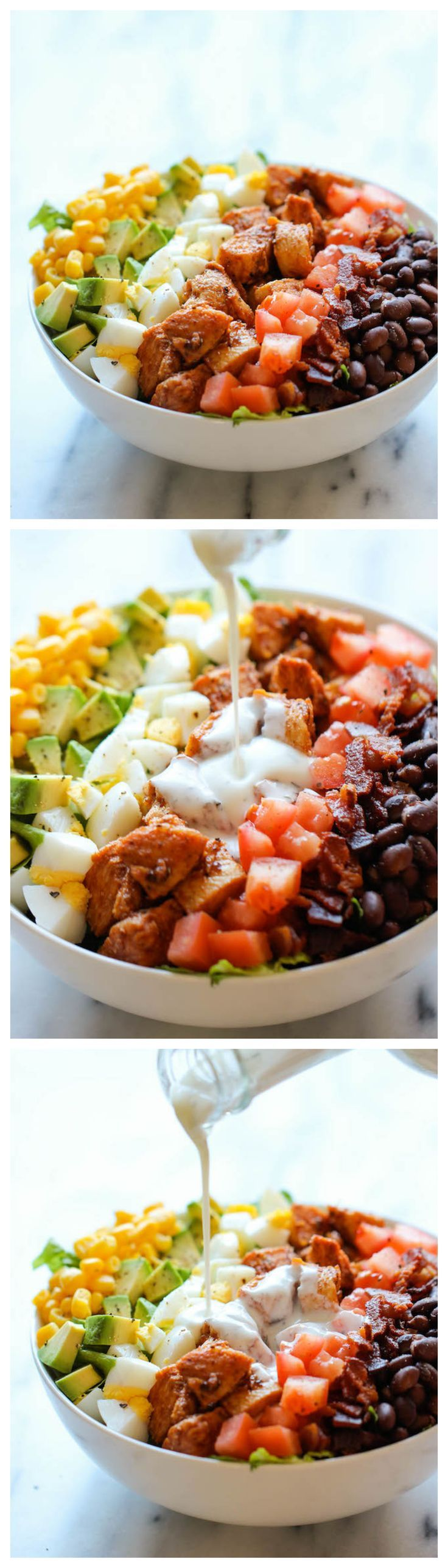 BBQ Chicken Cobb Salad - #EGGS - Healthy, hearty, quick and easy with an incredibly creamy buttermilk ranch dressing that is absolutely to die for!