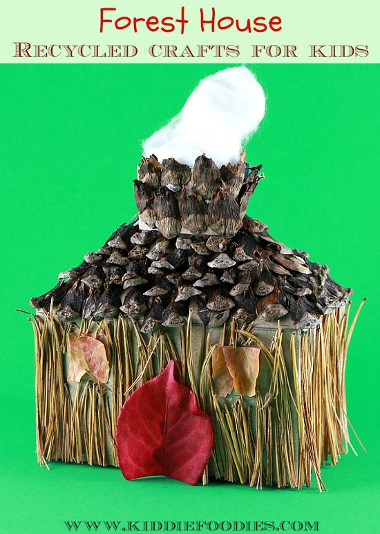 Recycled crafts for kids - forest house - box, pine needles & cone