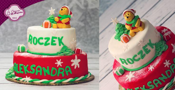 Tort zimowy, tort z Kubusiem Puchatkiem, tort na roczek, Kubuś Puchatek, tort z prezentami, czerwony tort, tort świąteczny, tort dla dziecka