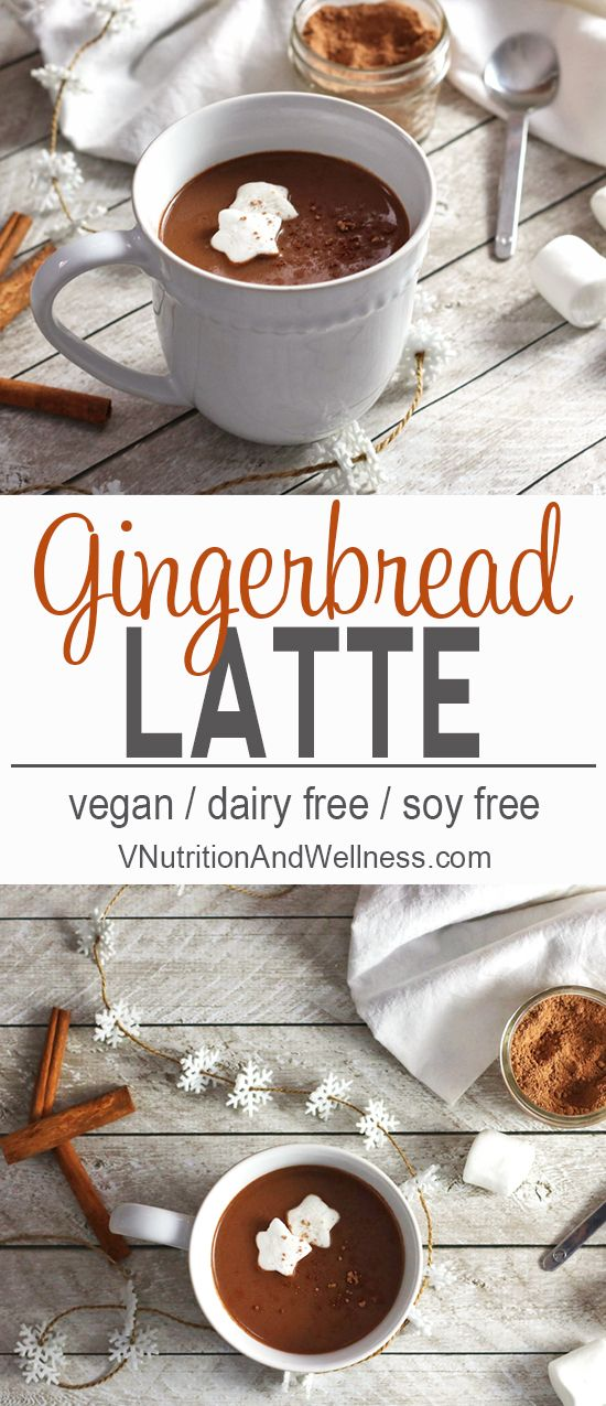 This vegan Gingerbread Hot Chocolate is full of Christmas spice. It's the is the perfect warming drink for the holidays!  via @VNutritionist