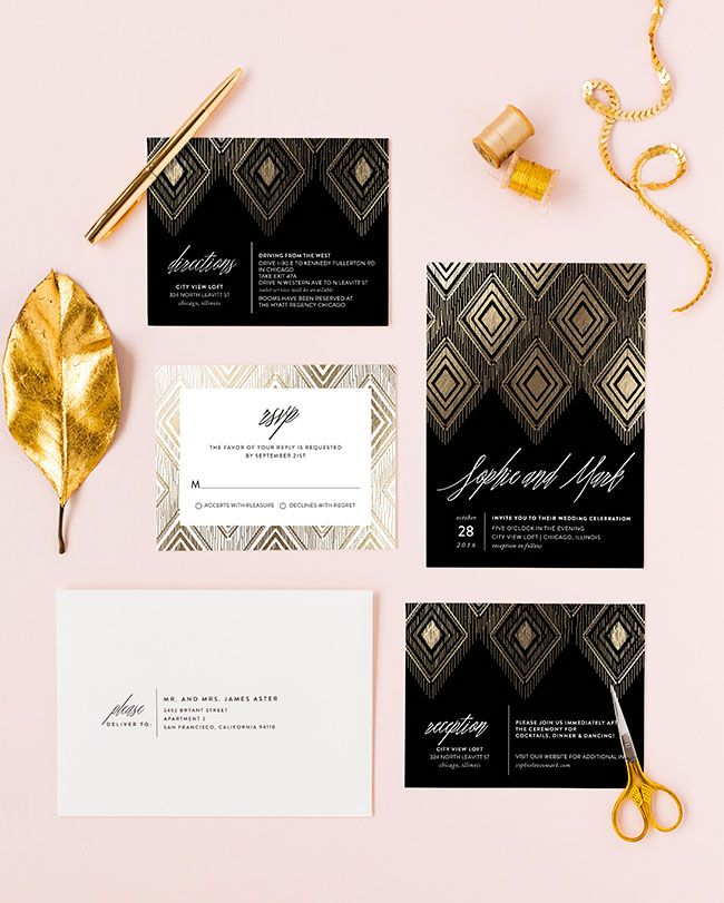 Gilded Ikat Wedding Invitation by Carolyn Nicks for Minted