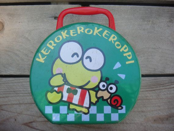 Vintage Sanrio - Keroppi - Green - Frog - Tin Box - Sanrio - Rustic Lunch Box