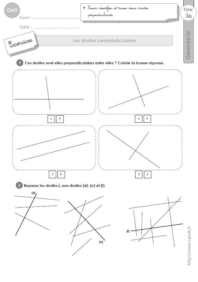 cm1: Exercices LES DROITES PERPENDICULAIRES   Droites perpendiculaires, Géométrie ce2 et Ce1