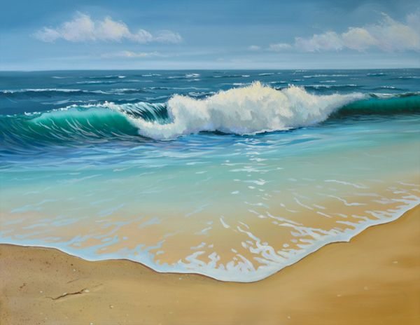 Beach and Seascape Paintings | ocean waves seascape oil painting $ 980 original seascape oil painting ...