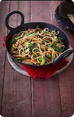 Beef, baby corn and choy sum stir-fry
