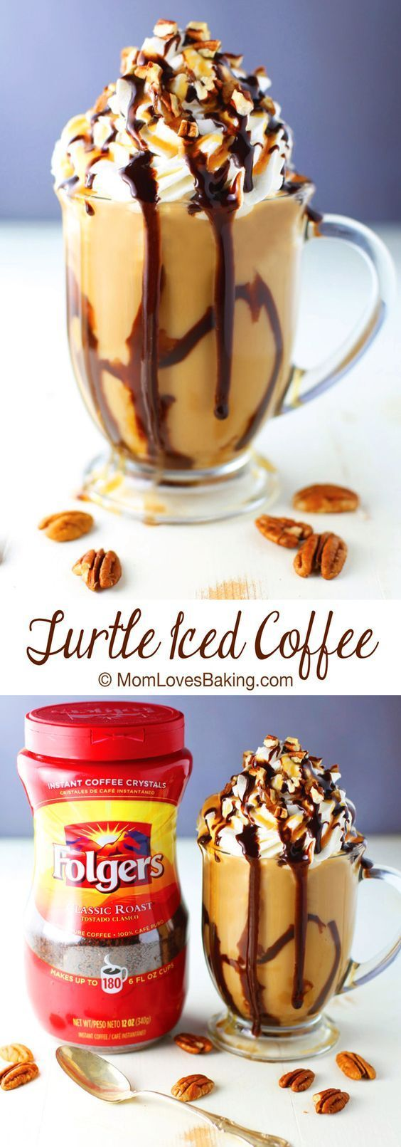 Turtle Iced Coffee has all the flavors of the famous candy without all the calories. Such a fun drink. Why not have a little turtle in you coffee! [ad]