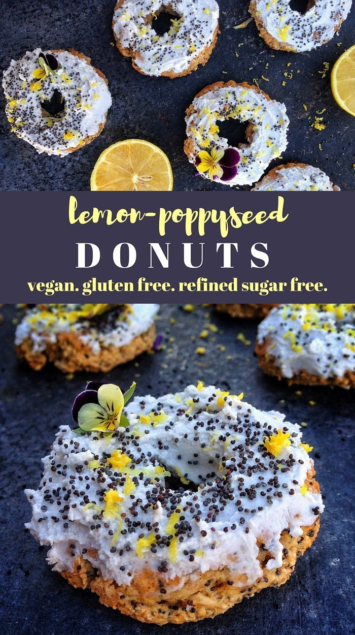 lemon poppyseed vegan donuts. gluten free, refined sugar free, dairy free, egg free. from http://viedelavegan.com